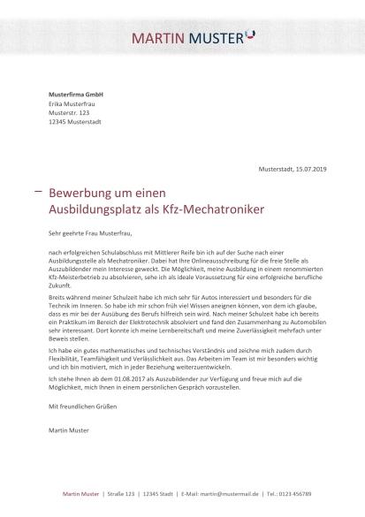 Bewerbung Schreiben Kfz Mechatroniker Kfz