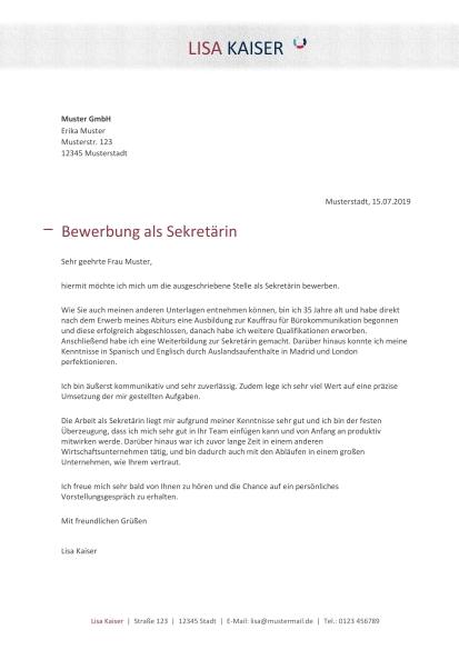 Anschreiben Bewerbung Sekretarin Muster Zum Download