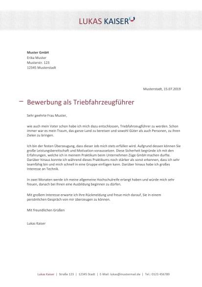 Bewerbungsmuster Triebfahrzeugfuhrer Kostenlose Vorlage
