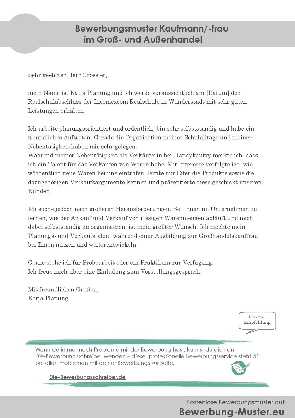 Bewerbung – Kaufmann/Kauffrau