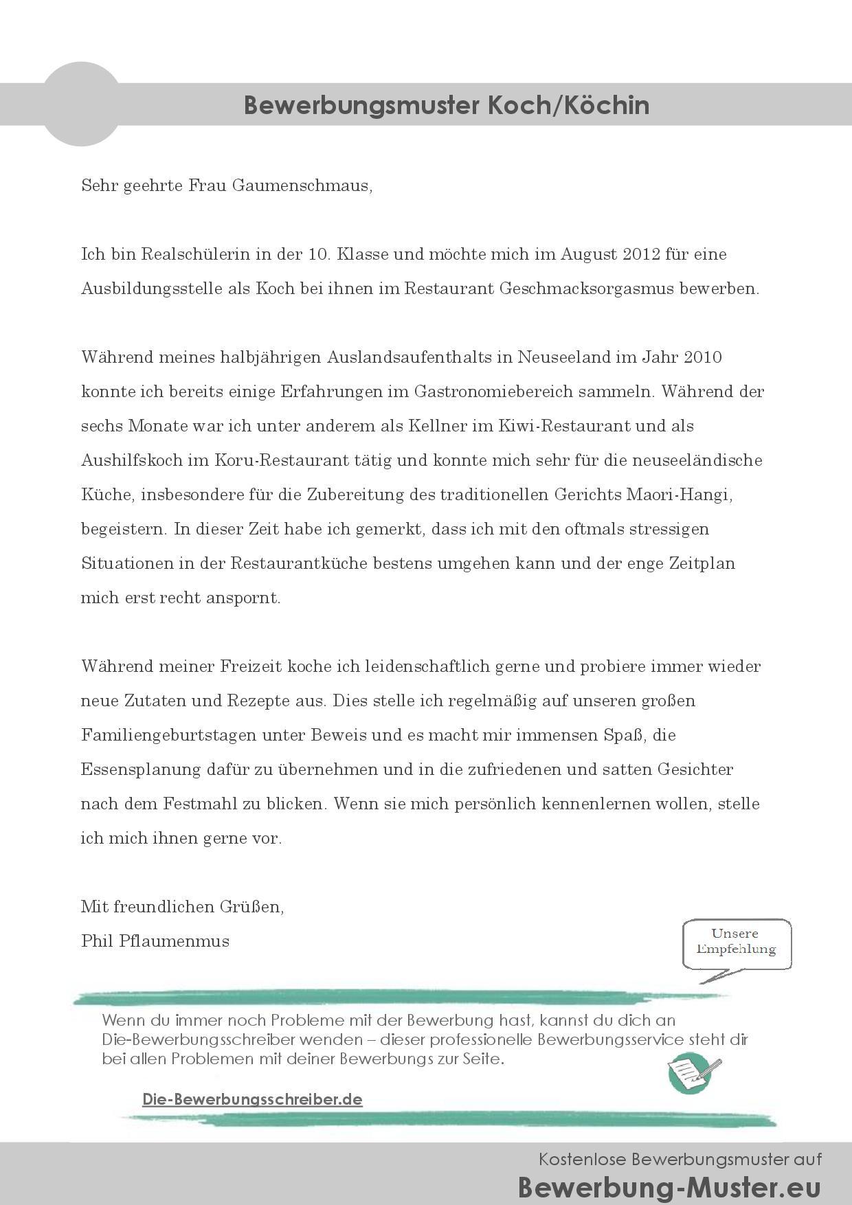 Professionelles & kostenloses Bewerbungsmuster - Koch/Köchin