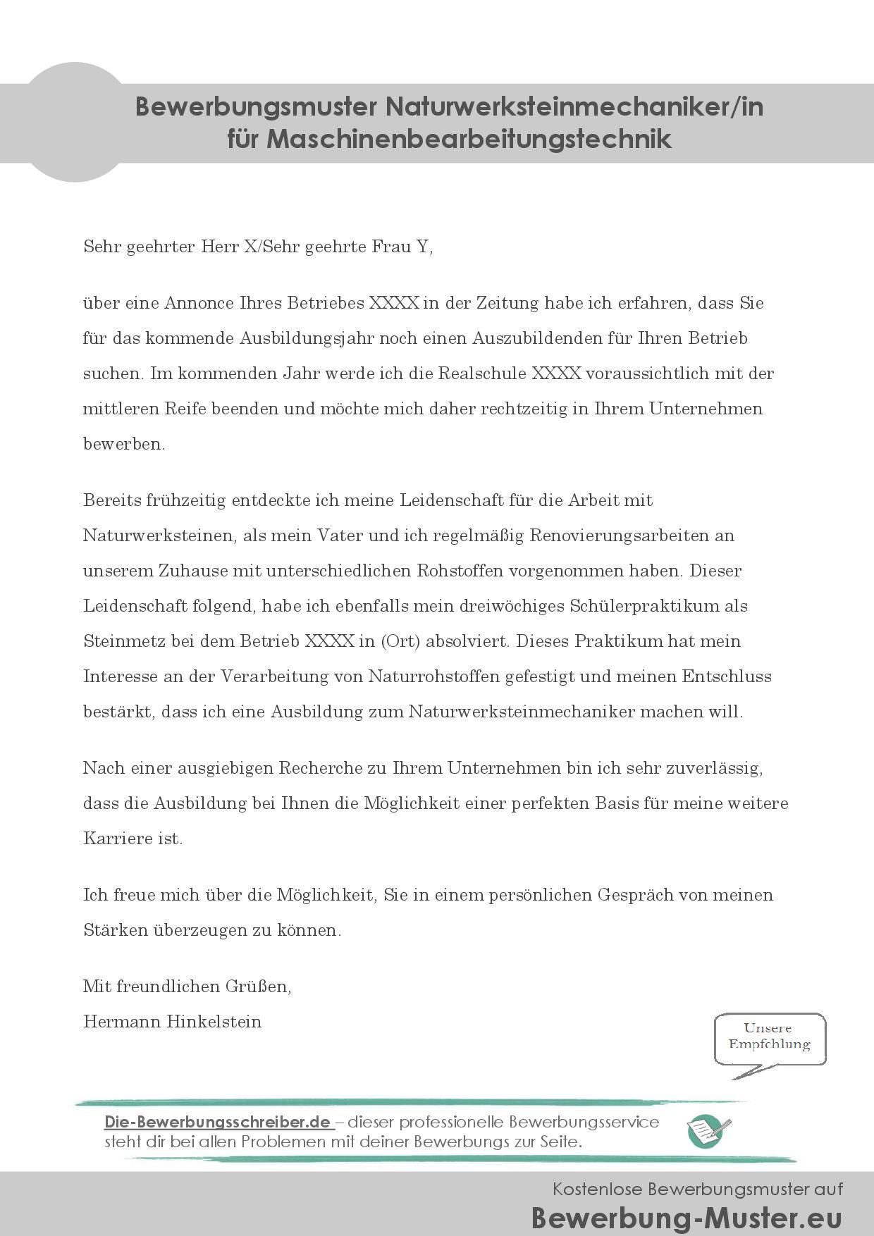 Bewerbungsmuster Naturwerksteinmechaniker/in für Maschinenbearbeitungstechnik