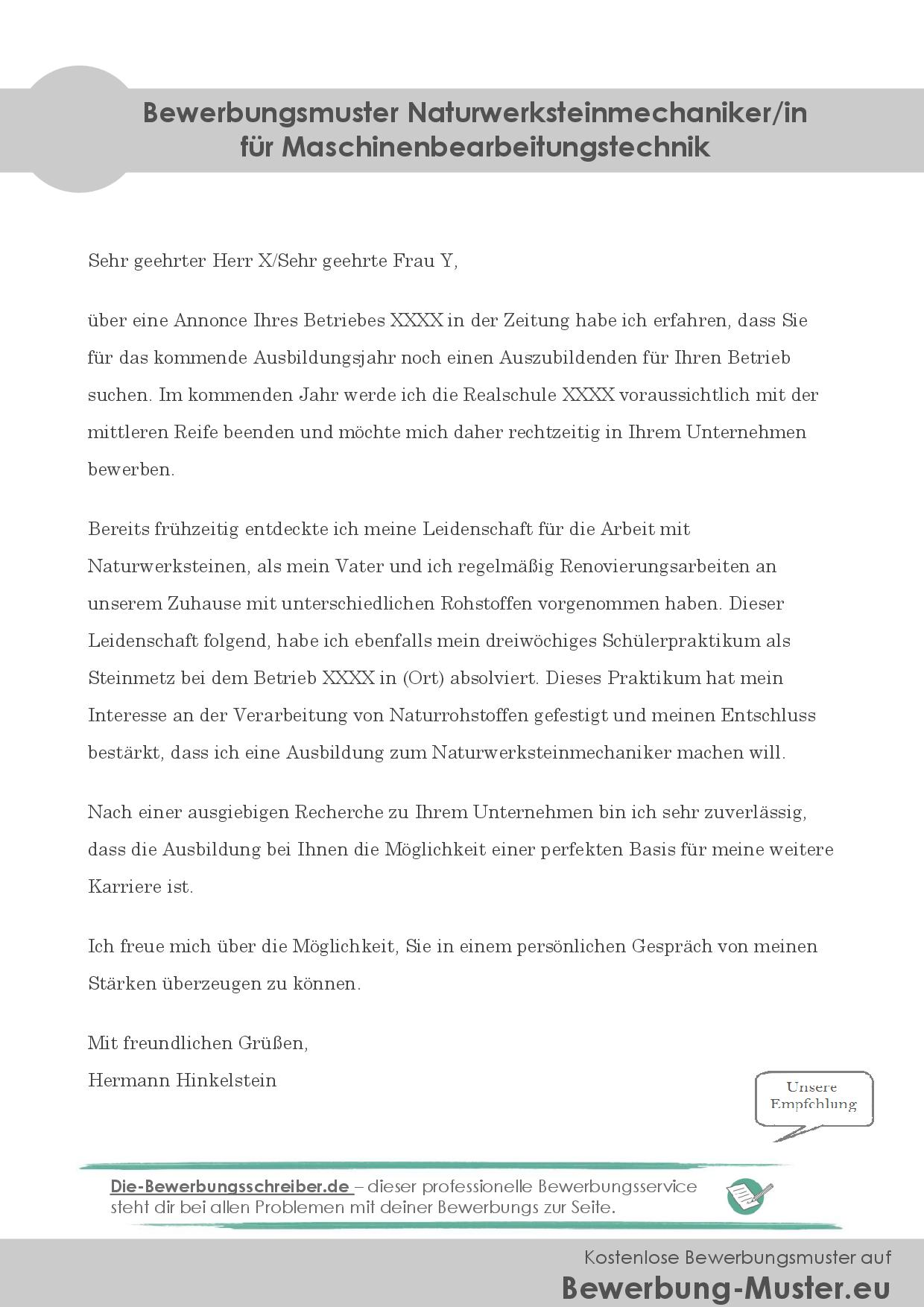 Kostenloses Bewerbungsmuster - Naturwerksteinmechaniker/in
