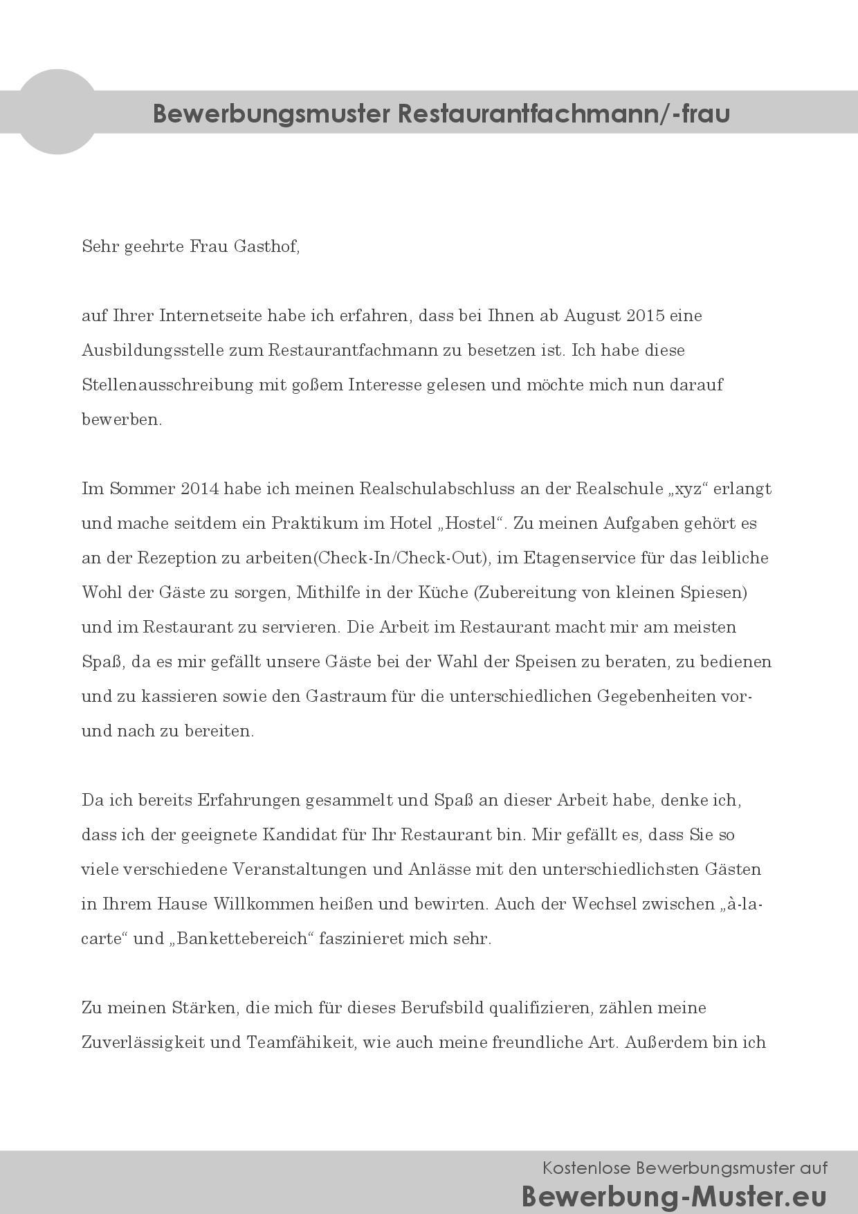 Gratis Bewerbungsmuster   Restaurantfachmann/ frau