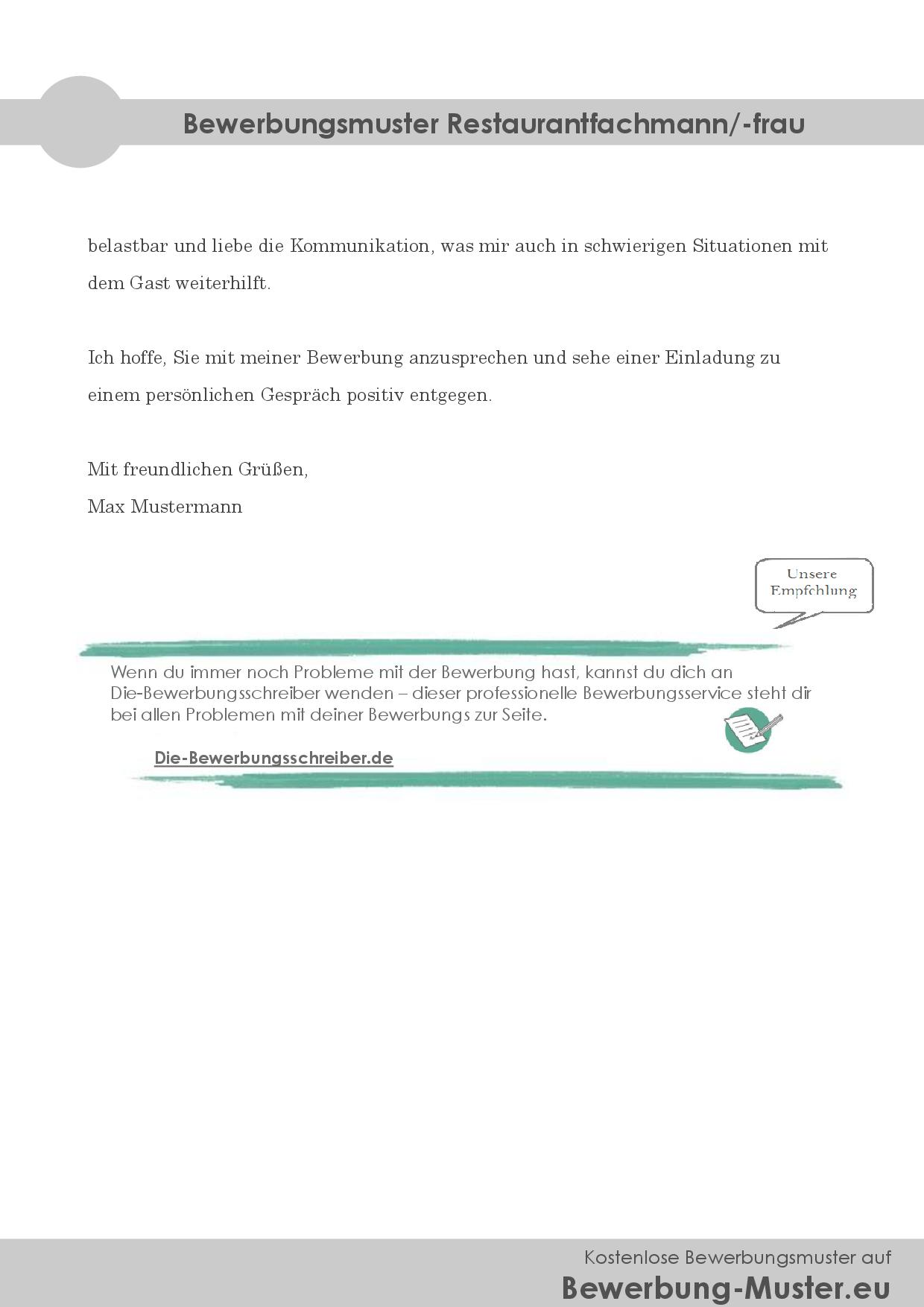 Bewerbungsmuster Restaurantfachmann/-frau
