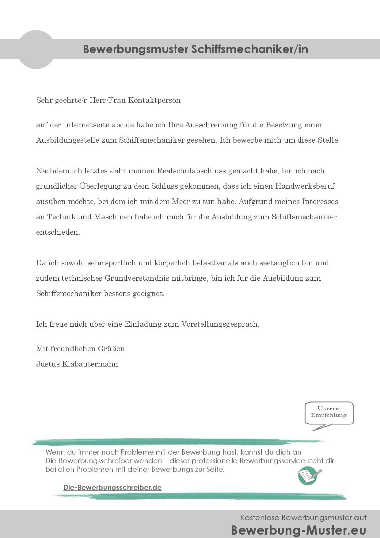kostenloses bewerbungsmuster - schiffsmechaniker/in, Einladung