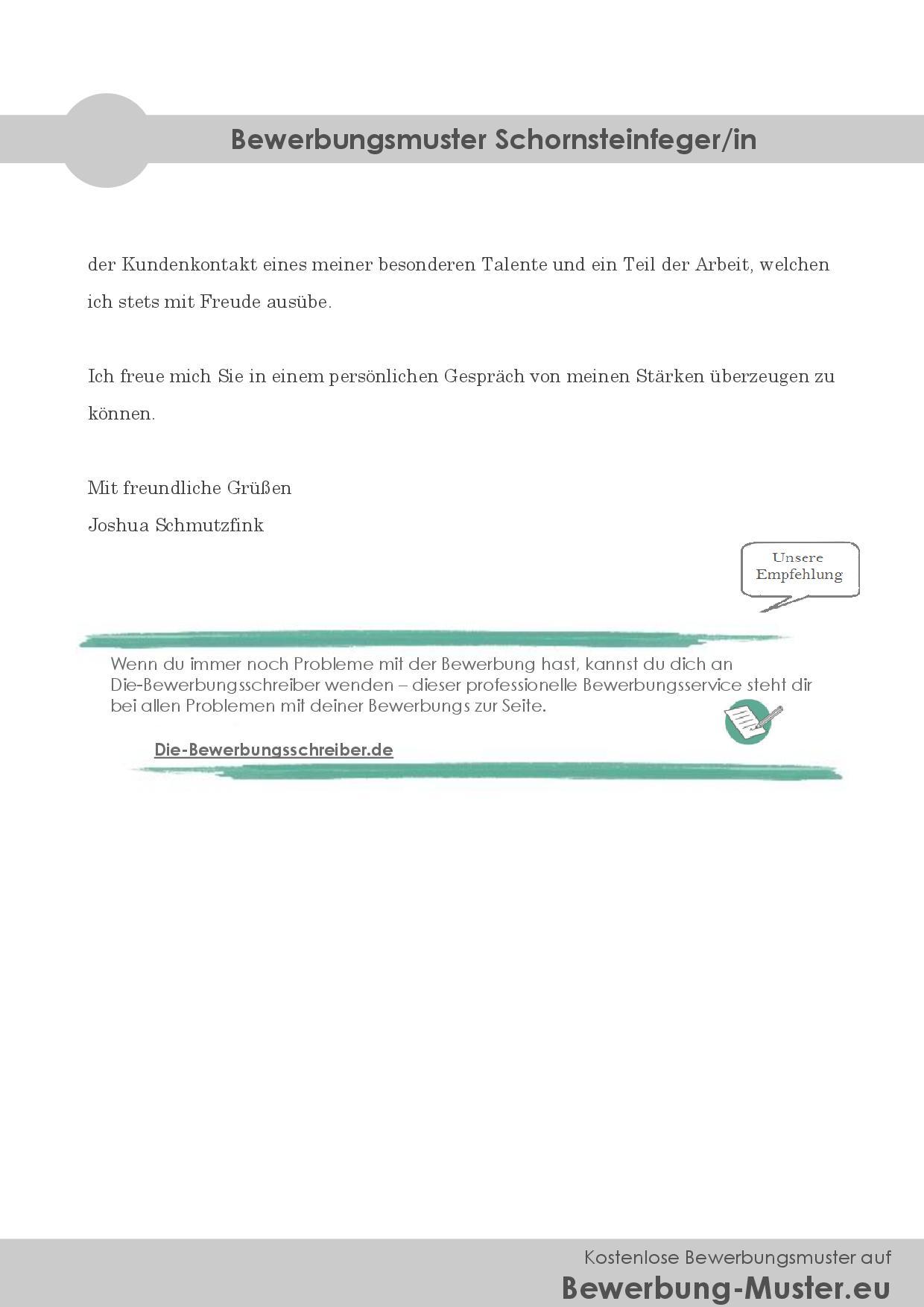Bewerbungsmuster Schornsteinfeger/in