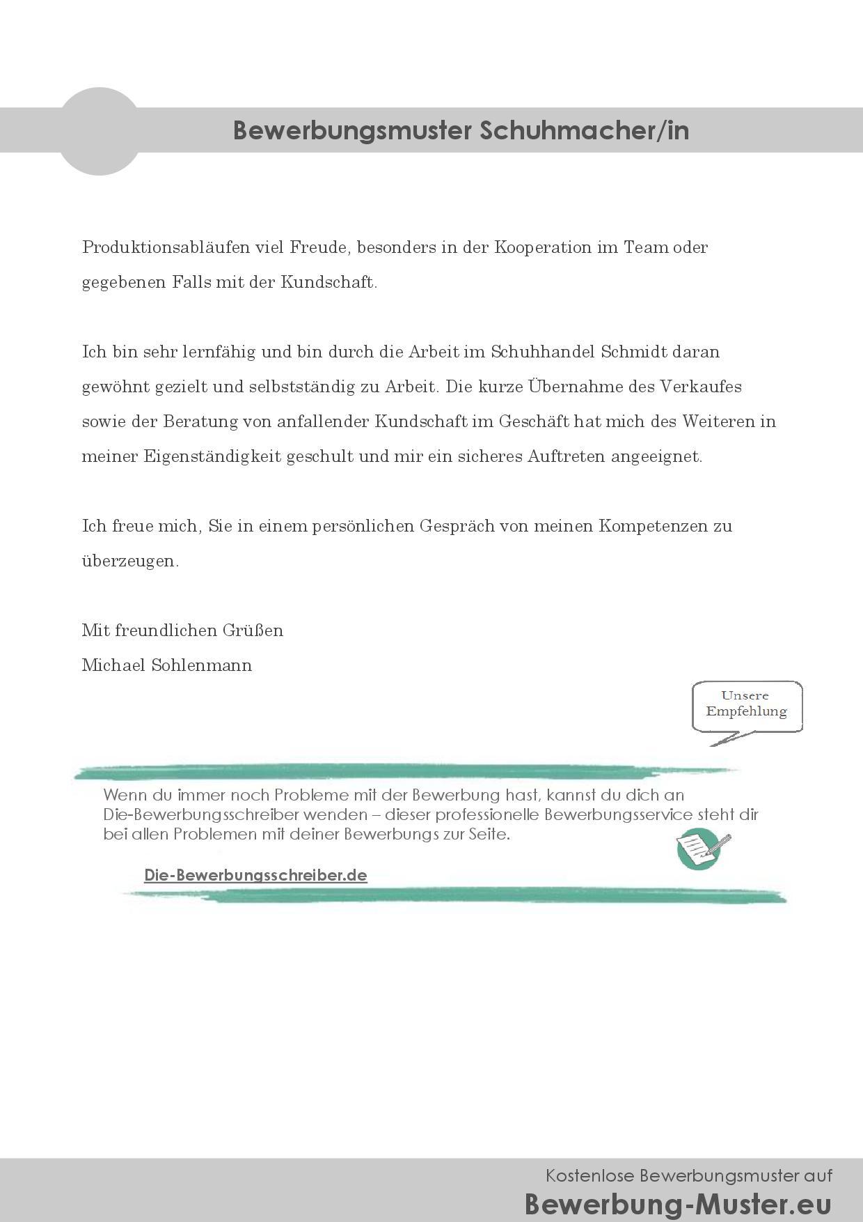 Bewerbungsmuster Schuhmacher/in