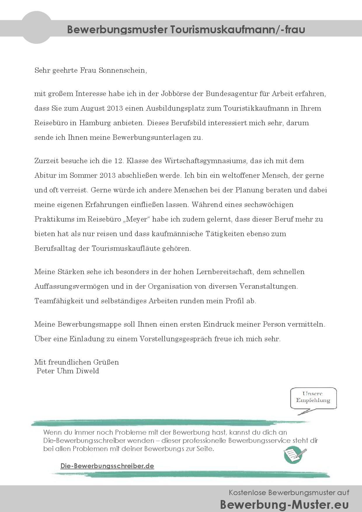Bewerbungsmuster Tourismuskaufmann/-frau