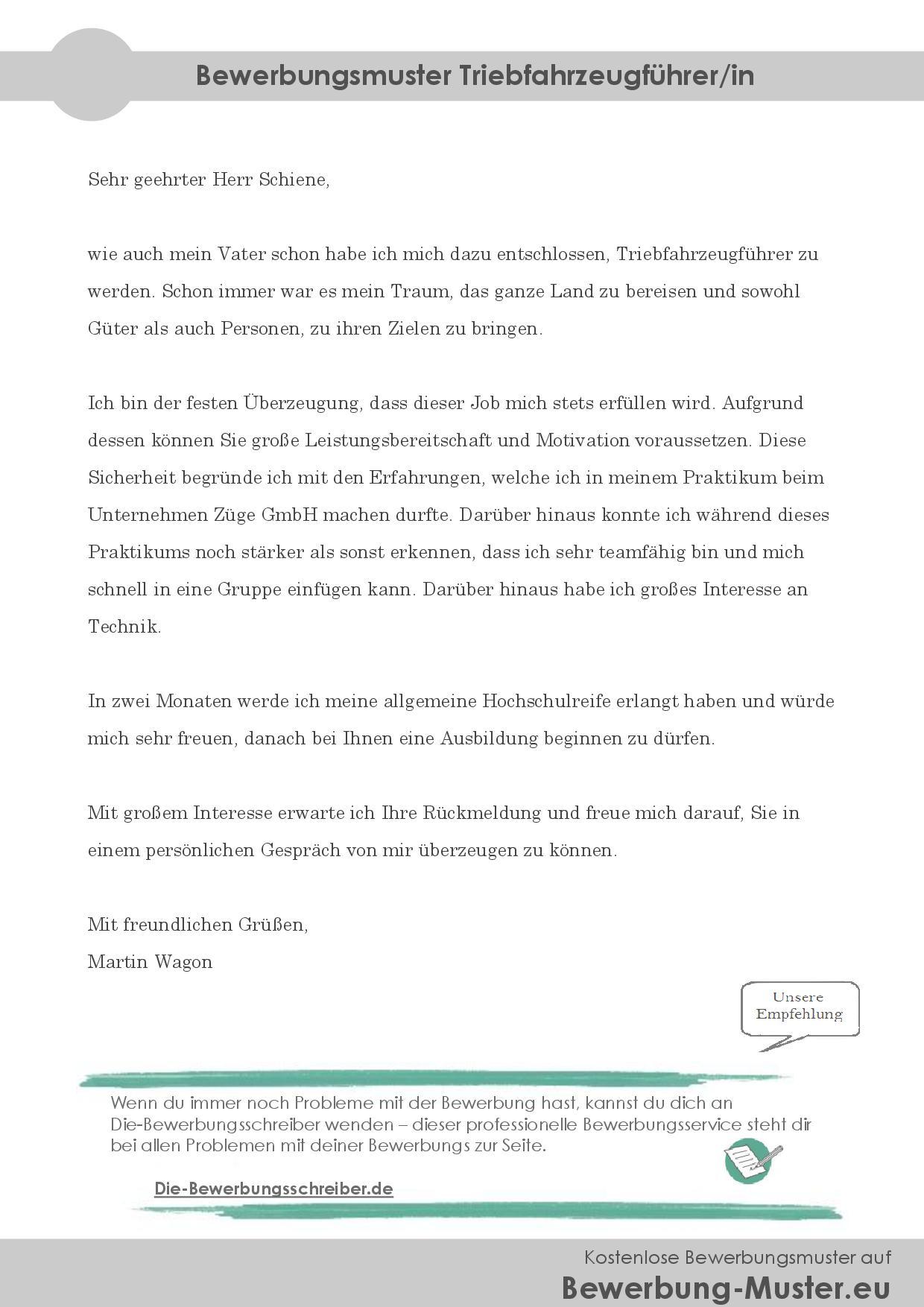 Bewerbungsmuster Triebfahrzeugführer/in