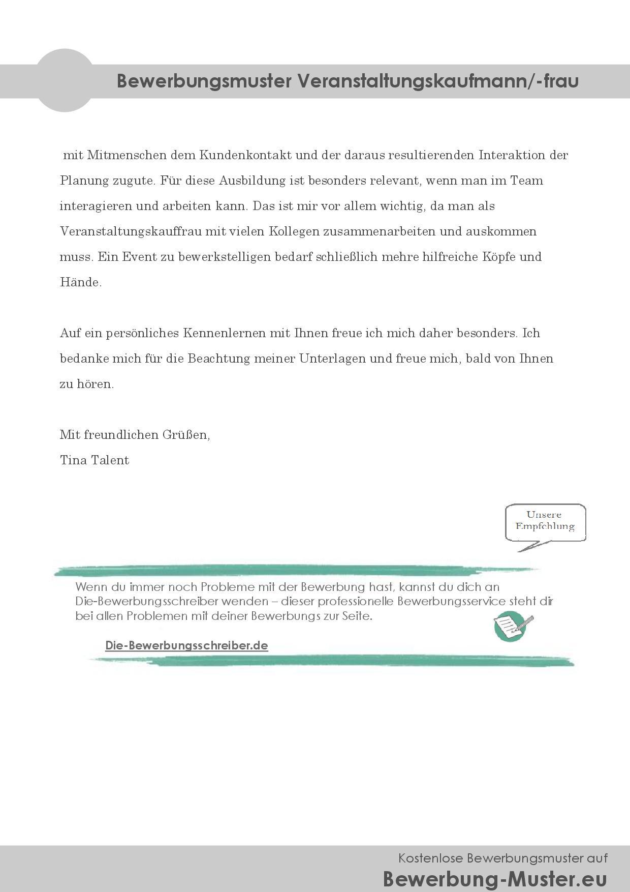 Bewerbungsmuster Veranstaltungskaufmann/-frau