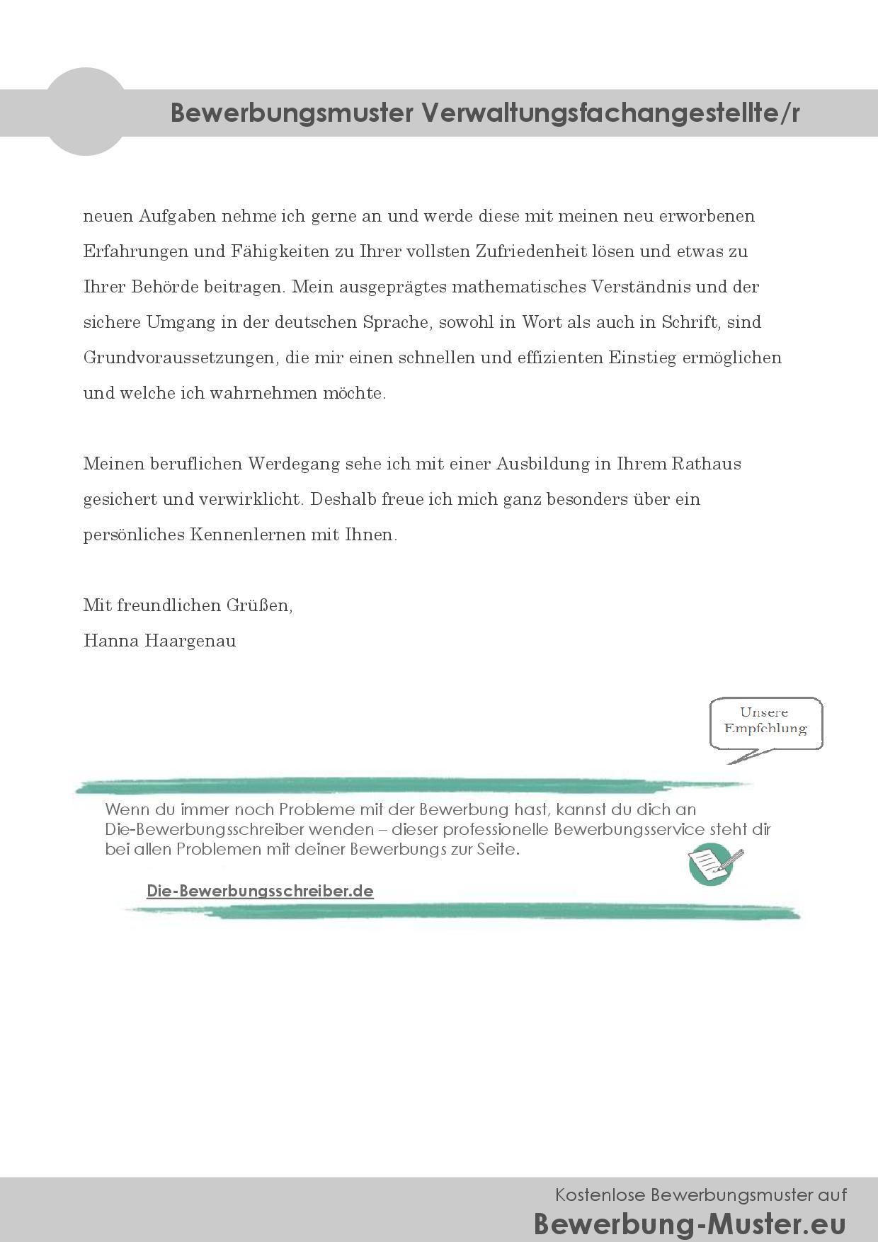 Bewerbungsmuster Verwaltungsfachangestellte/r