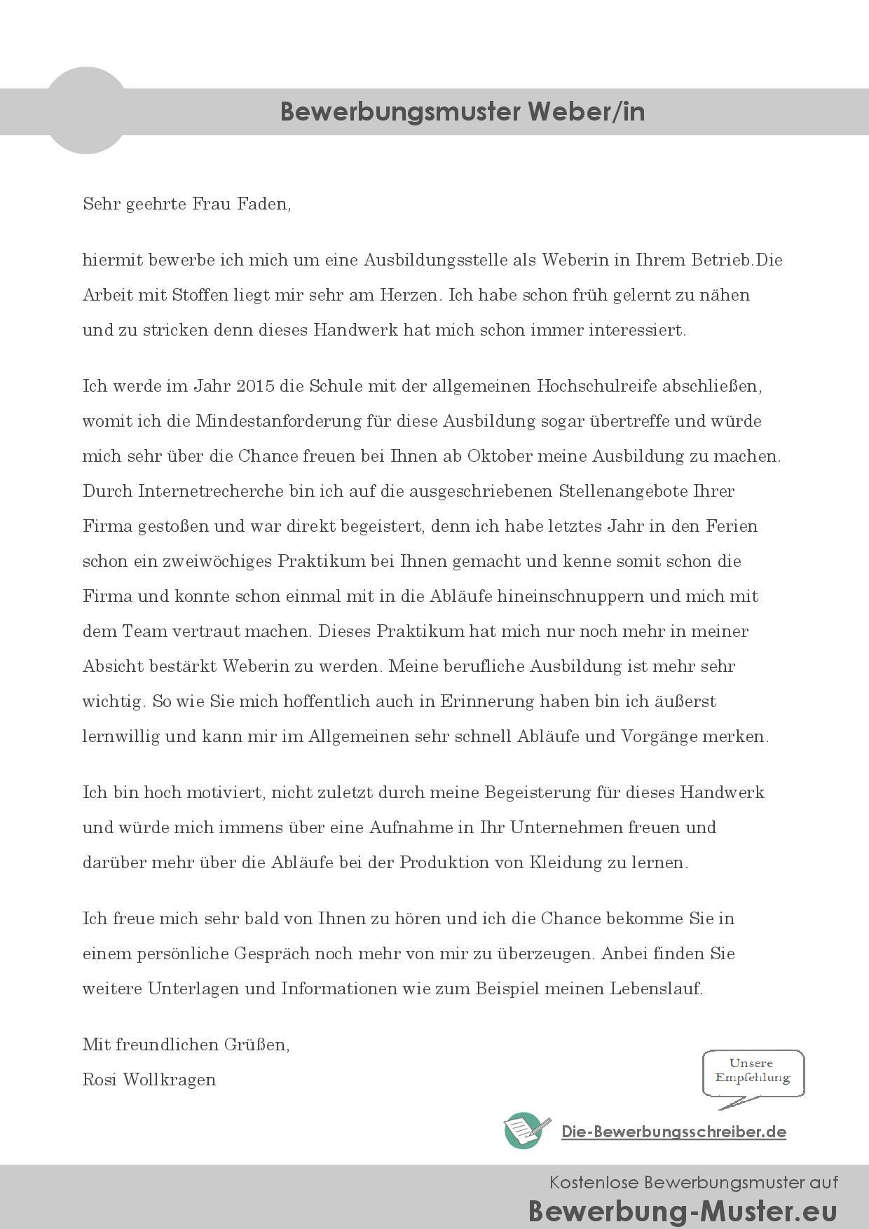 Bewerbungsmuster Weber/in