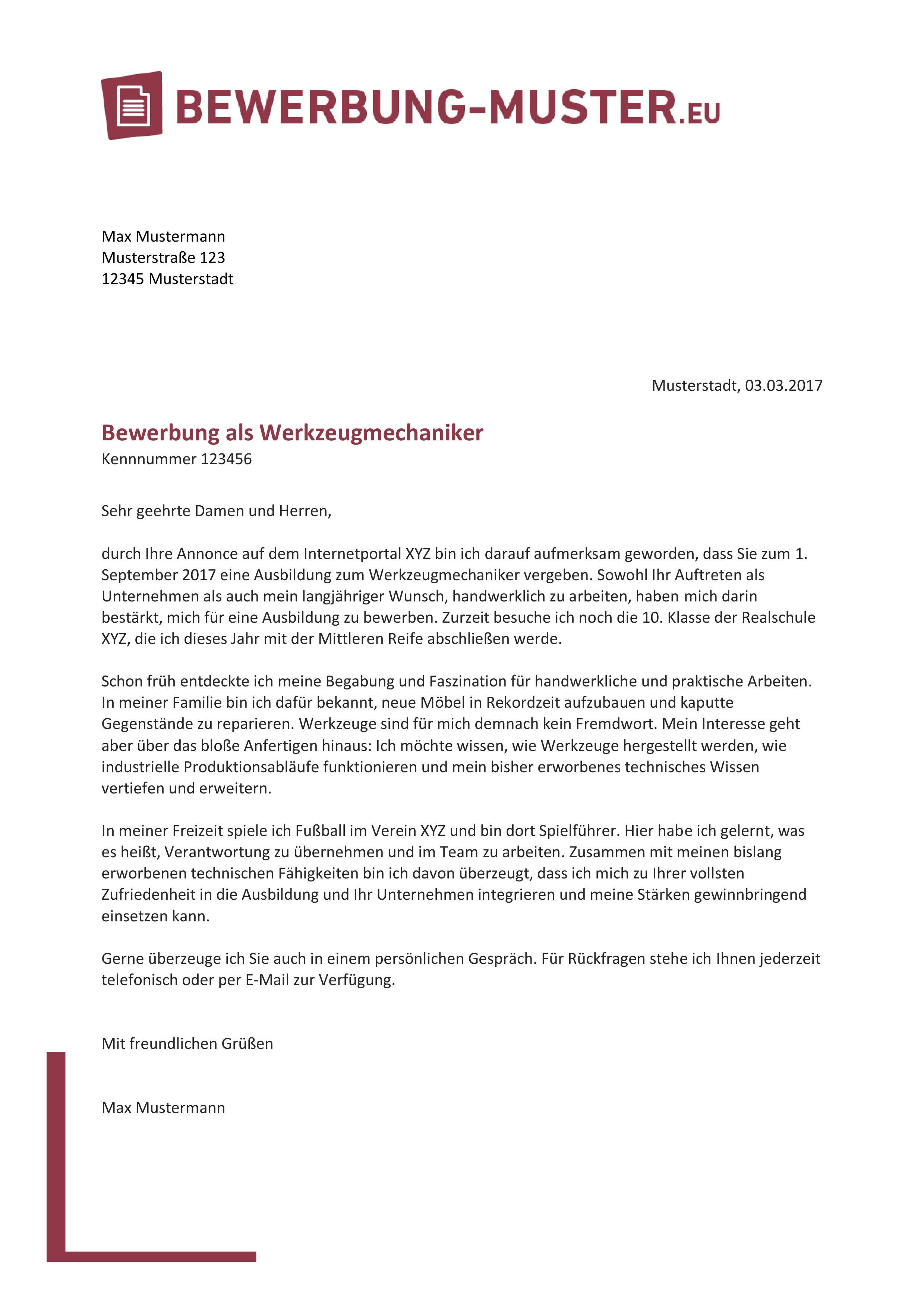 Vorlage Anschreiben Werkzeugmechaniker/in