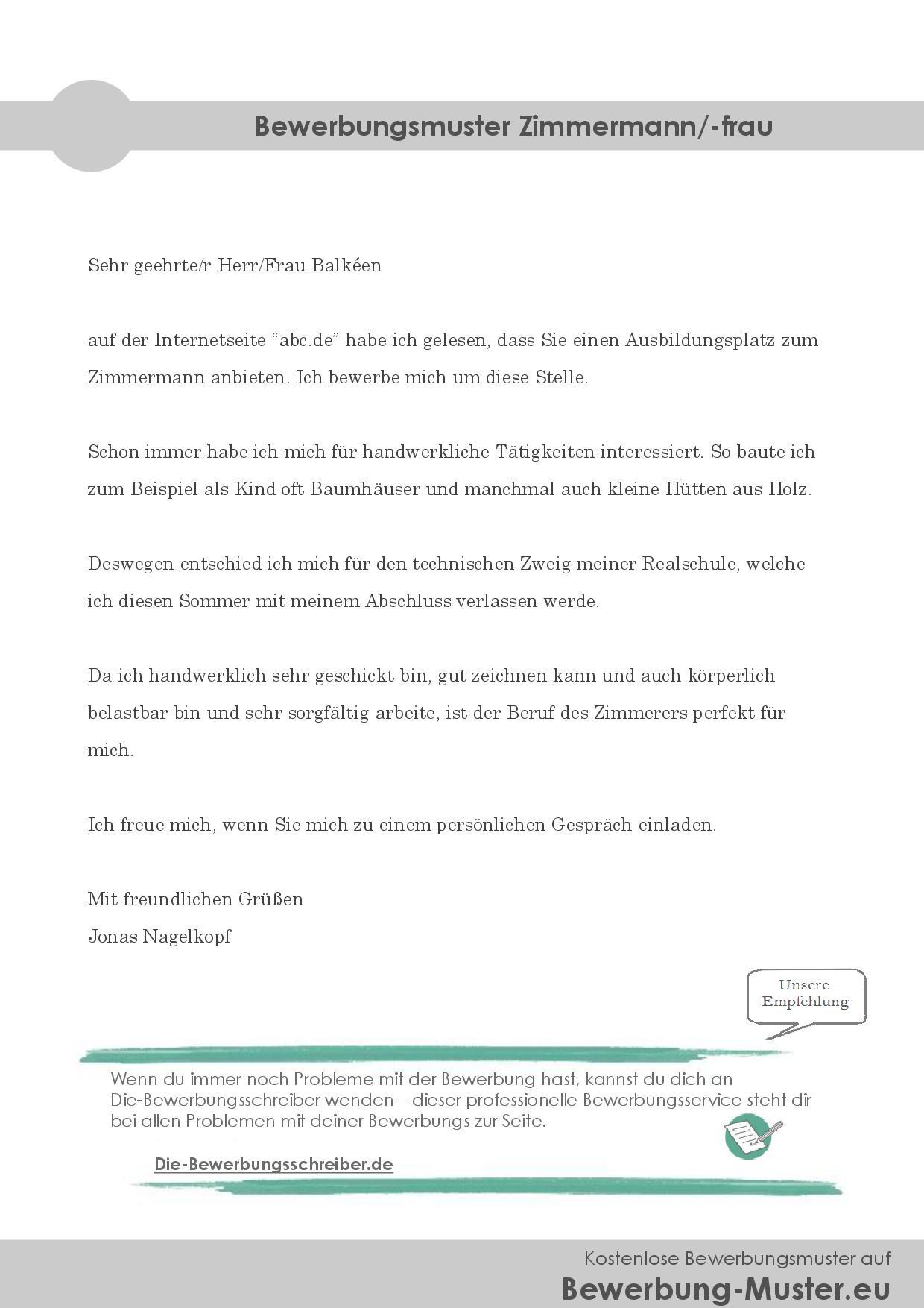 Bewerbungsmuster Zimmermann/-frau
