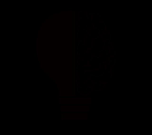 Illustration eines Seitenprofils mit einer Glühbirne anstelle eines Gehirns